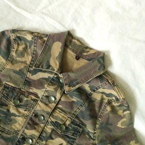 Camoflauge Patterned Denim Jacket